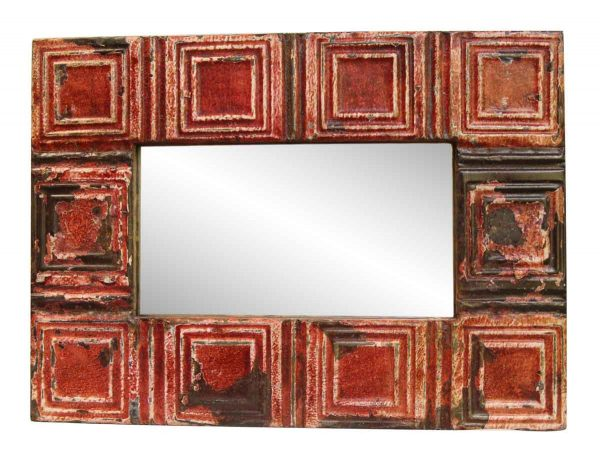Square Pattern Red Tin Mirror