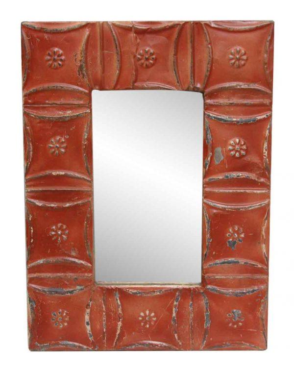 Red Snowflake Tin Mirror