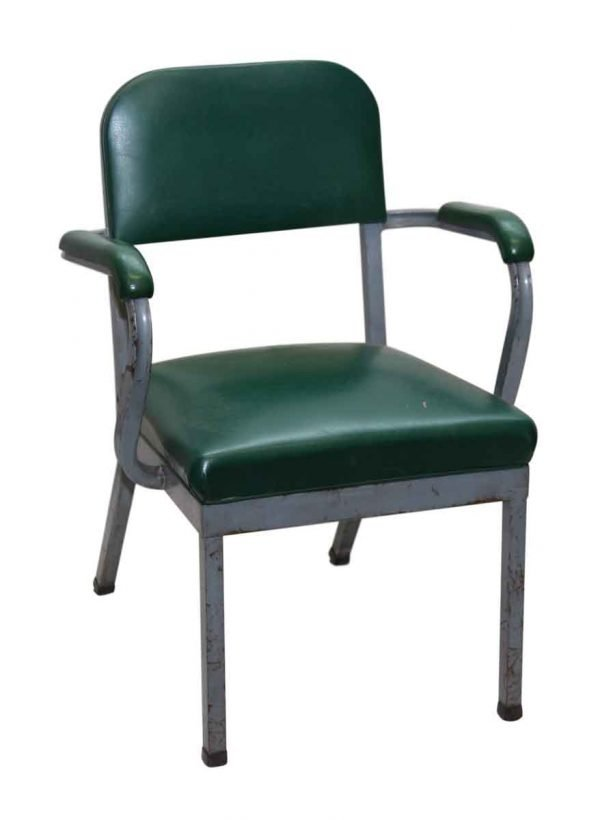 Green Vinyl Arm Office Chair