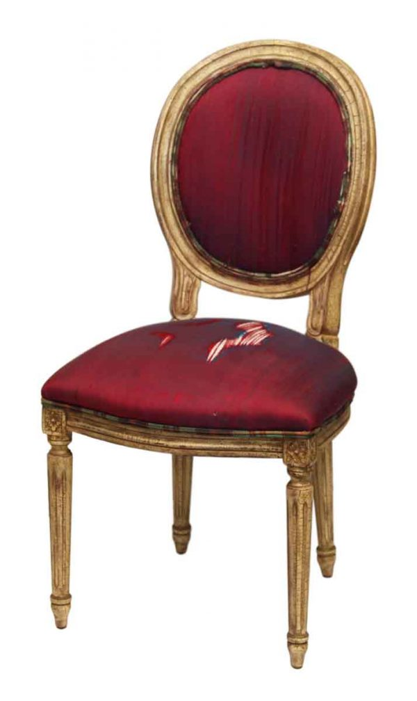 Worn Upholstered Wood Frame Chair with Federal Style Legs