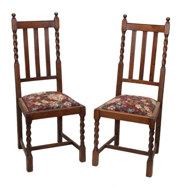 Pair of Wooden Chairs with Floral Seat & Braided Details