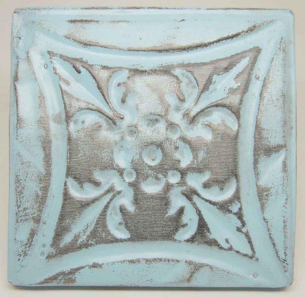 Sky Blue Floral Tin Panel