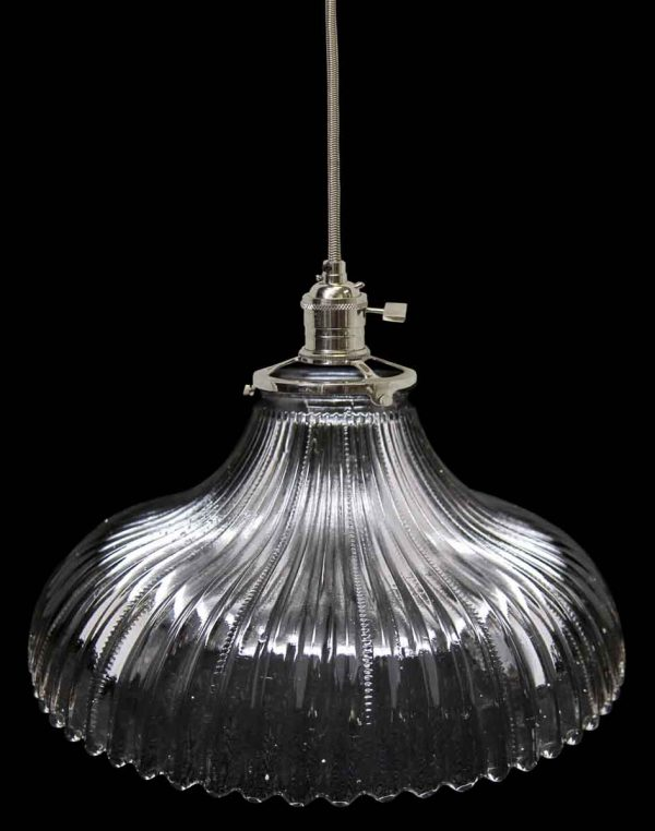 Ribbed Holophane Glass Shade from 1920s
