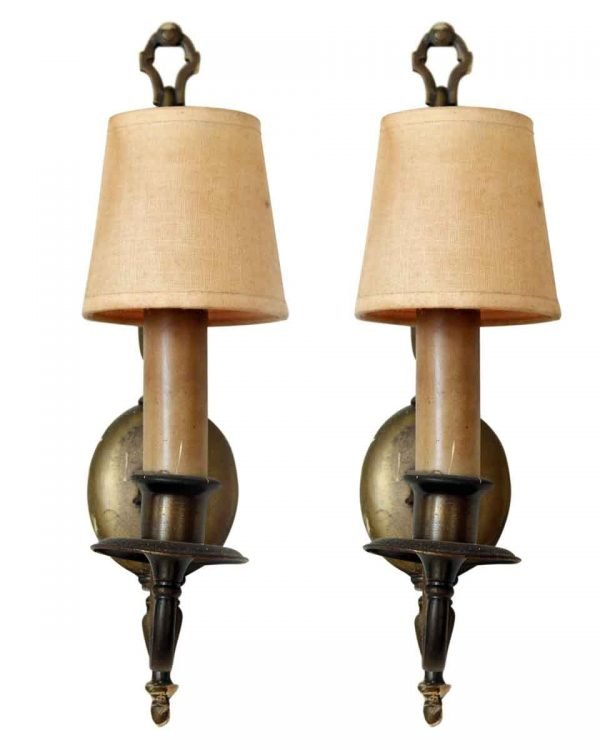 Pair of Brass Colonial Sconces with Silver Finish