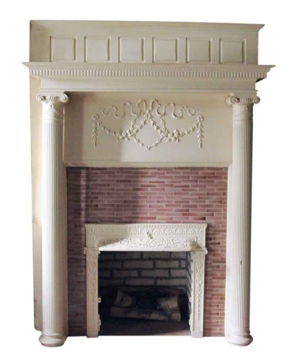 Tall Wooden White Mantel