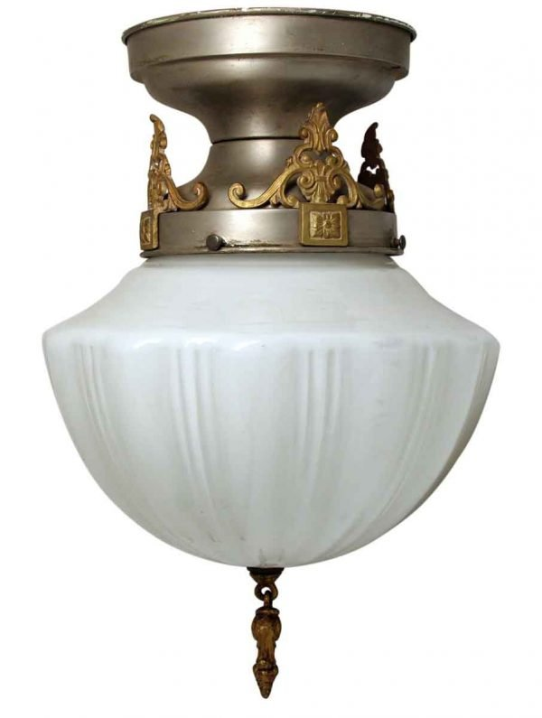 Milk Glass Globe with Ornate Pewter Fitter