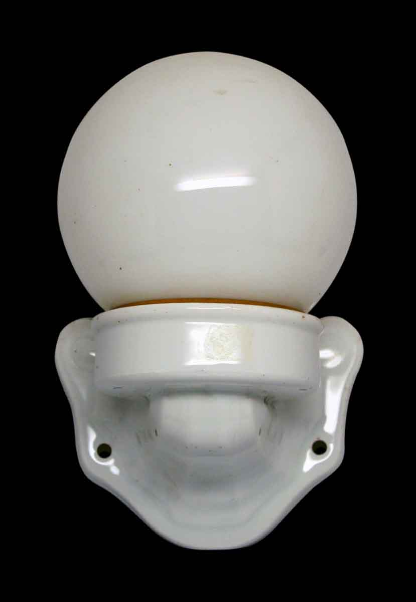 Ceramic Single Sconce With Milk Glass Globe Olde Good Things