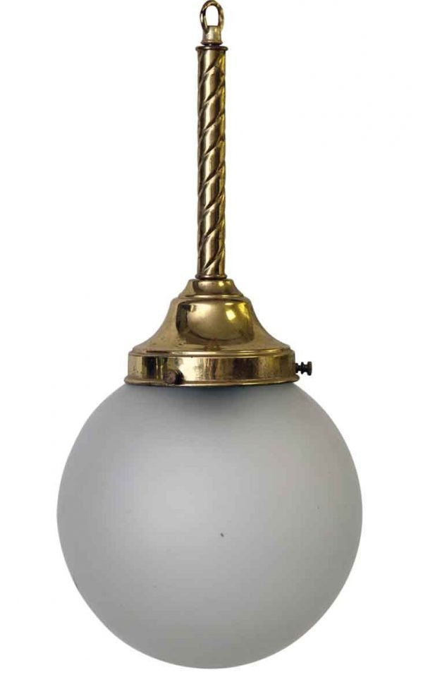 Pair of Frosted Globe Pendants with Brass Fitter