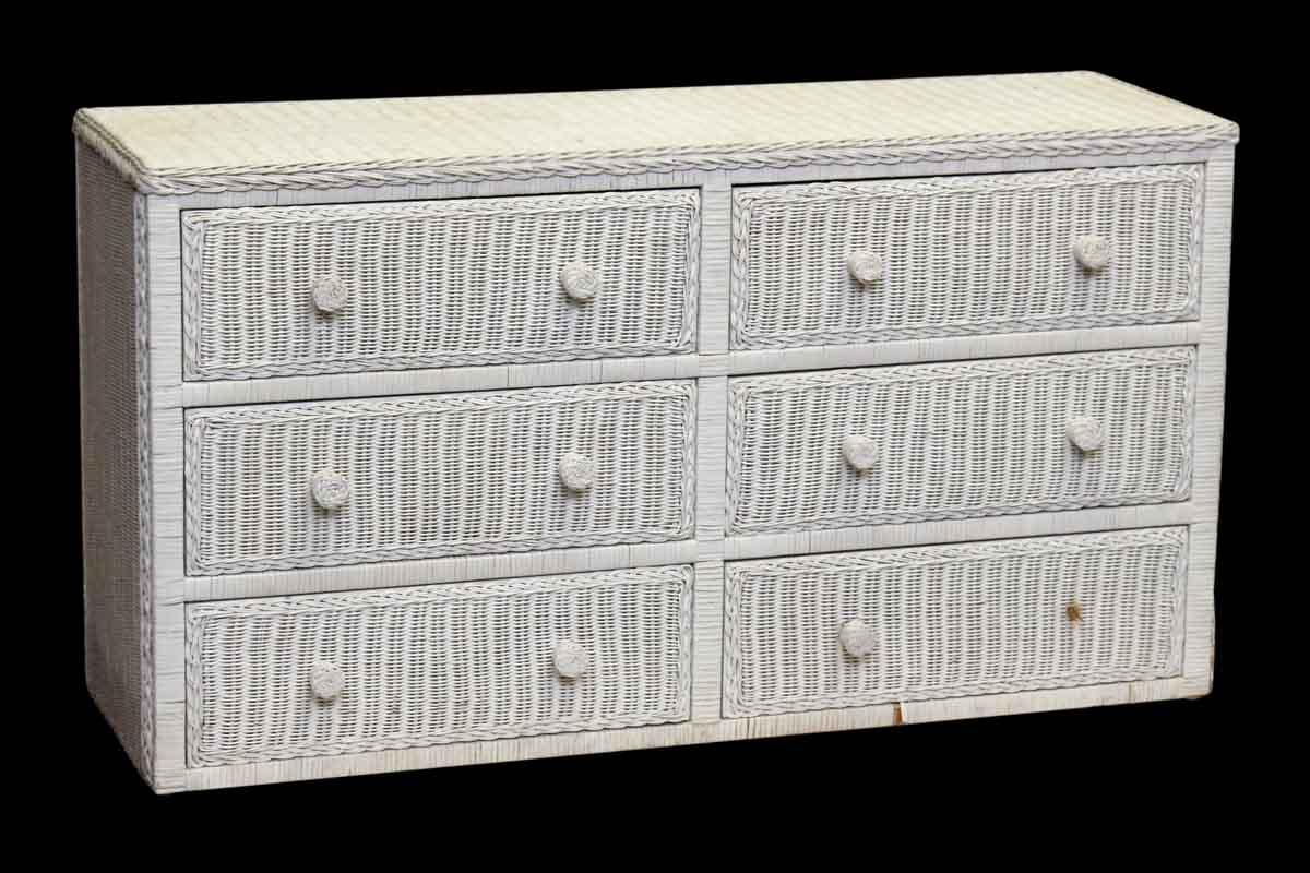 White Wicker Dresser With Six Floral Lined Drawers Olde Good Things