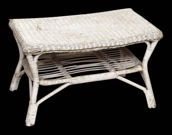 Small Worn White Wicker Table