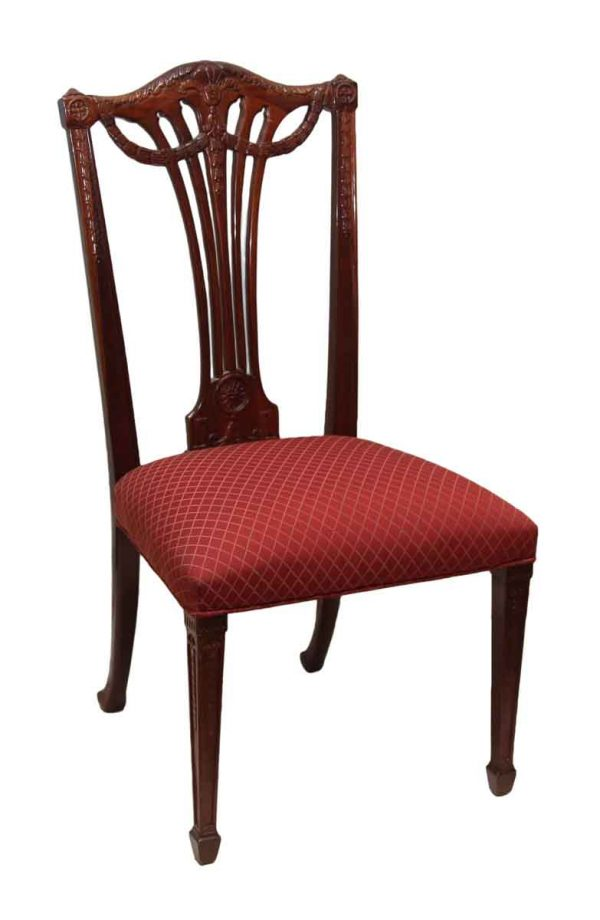 Set of Five Carved Wood Chairs