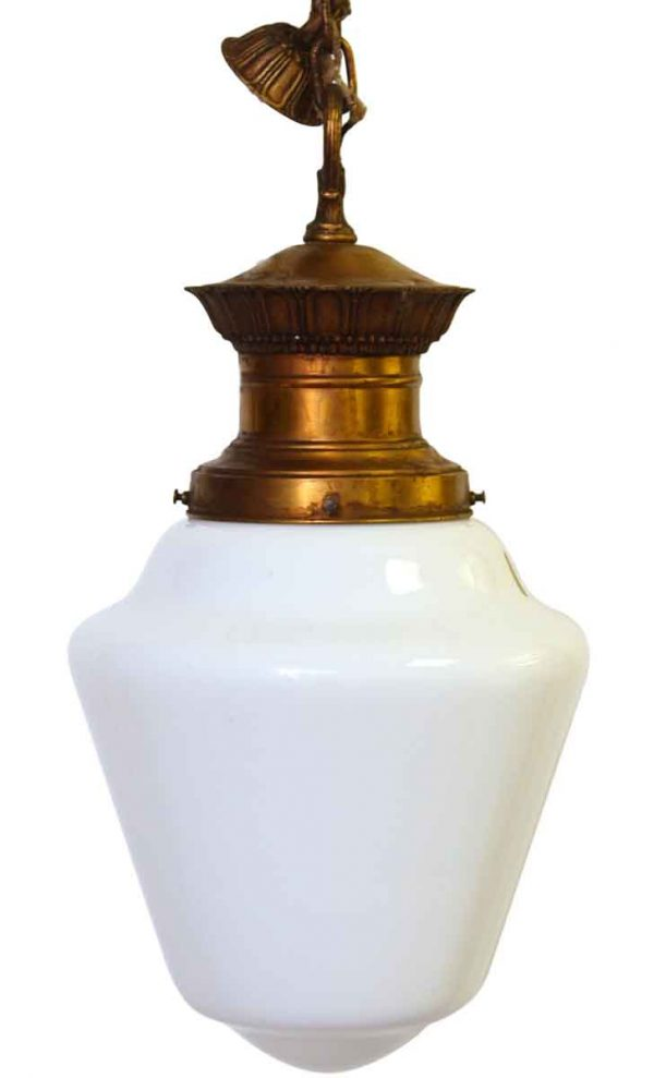 Milk Glass Fixture with Ornate Base