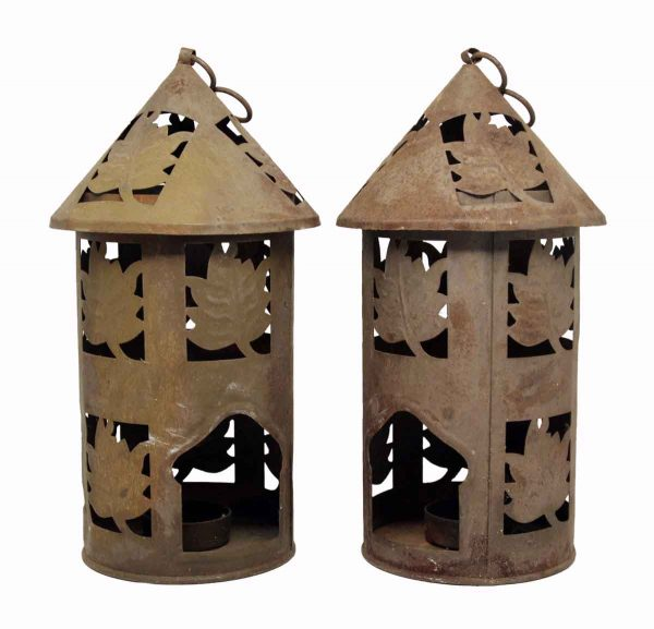 Pair of Cut Rustic Tea Light Lanterns