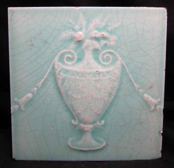 Mint Green Floral Pot Tile