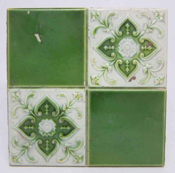 Floral Decorative Light Green Tile