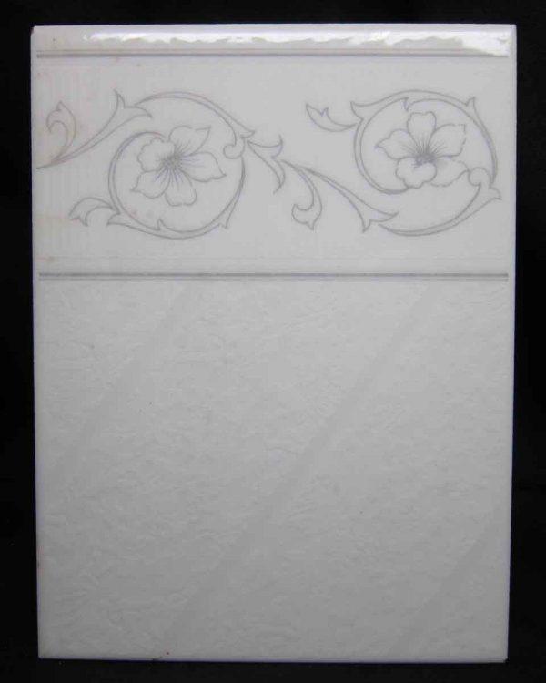 White Floral Border Tile
