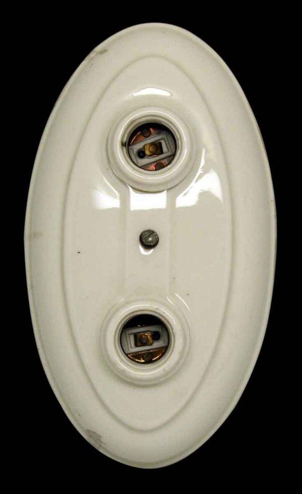 Porcelain Two Bulb Flush Mount Light