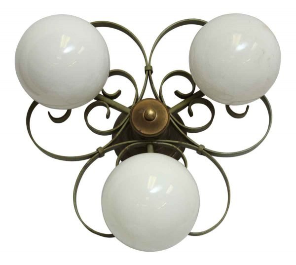 Three Globe Curl Flush Mount Fixture
