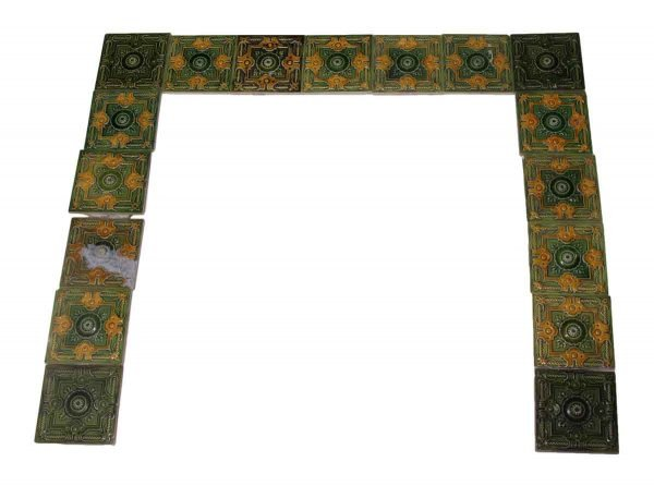 Green & Yellow Mixed Floral Tile Surround