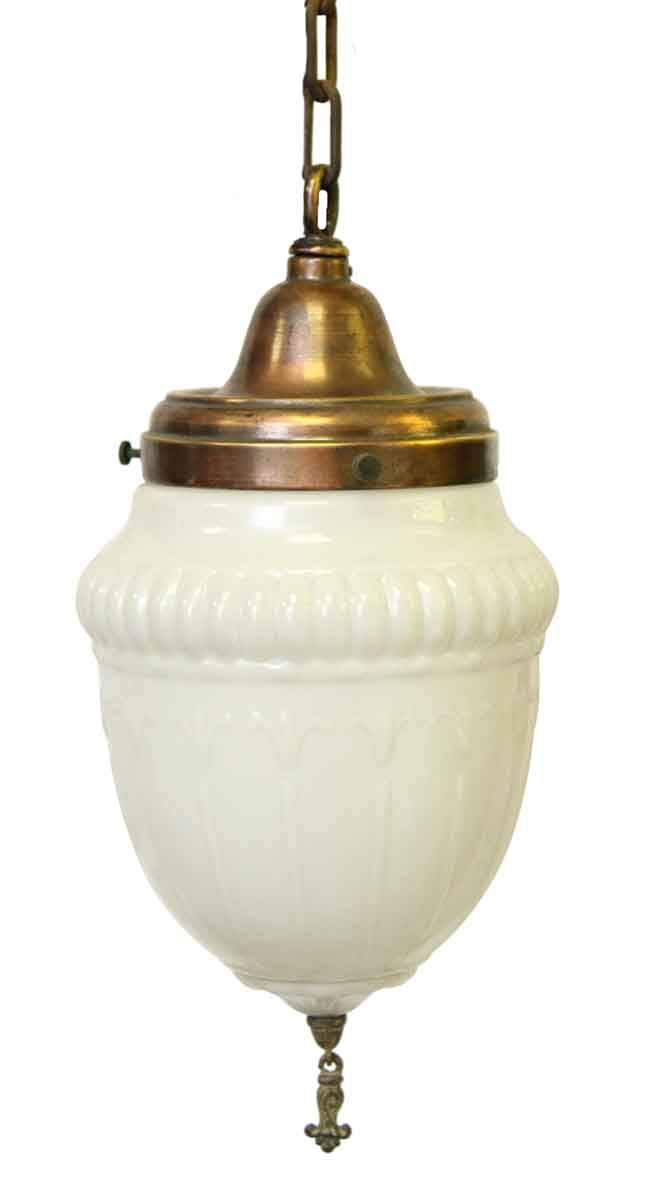 Milk Glass Pendant Light With Antique Brass Chain Olde