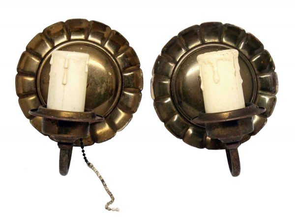 Pair of Small Scalloped Sconces