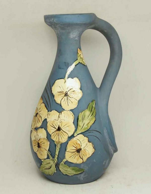 Floral Painted Blue Ceramic Pitcher