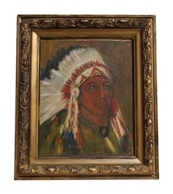 Native American Painting with Ornate Frame