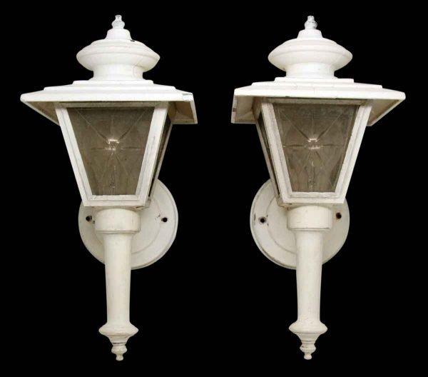 Pair of White Lanterns with Etched Glass