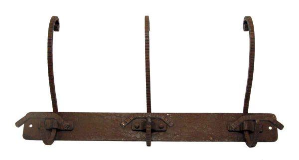 French Three Hook Wrought Iron Rack