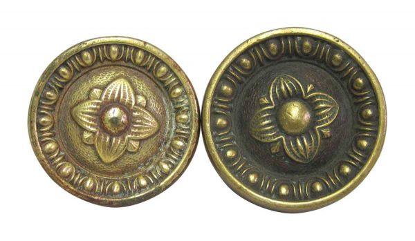 Greek Floral Brass Doorknobs