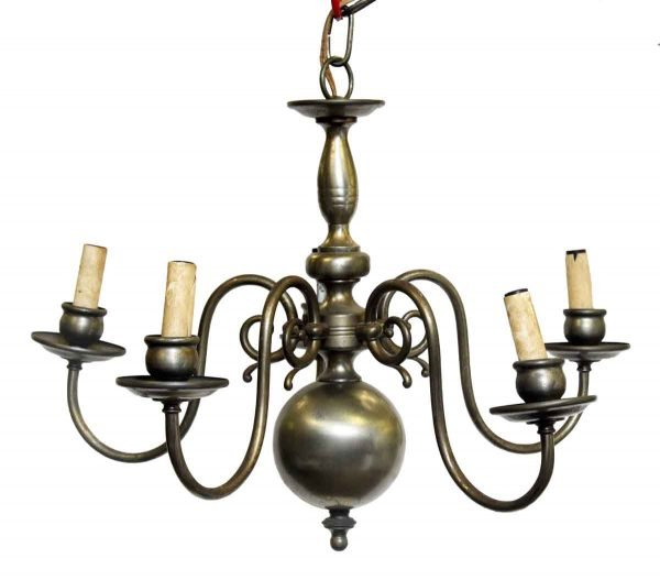 Five Arm Nickel Plated Williamsburg Chandelier
