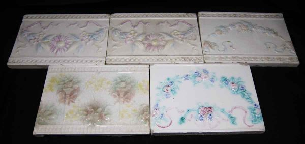 Set of Five Floral White Tiles