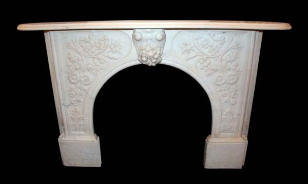Highly Carved White Marble Mantel