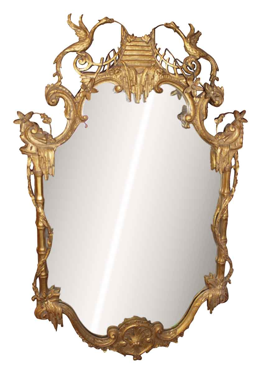 Gold Gilt Mirror With Asian Details Olde Good Things