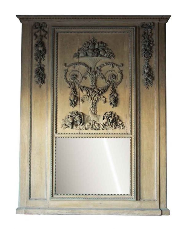 Trumeau Carved Over Mantel Mirror