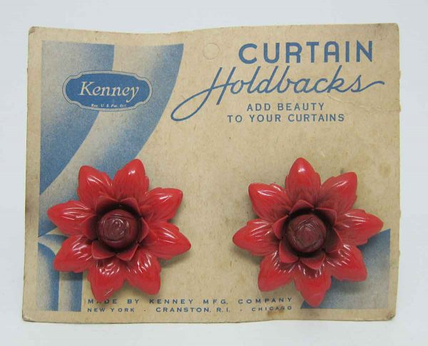 Pair Red Flower Curtain Holdbacks