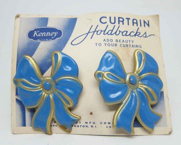 Pair of Blue & Gold Bow Curtain Holdbacks