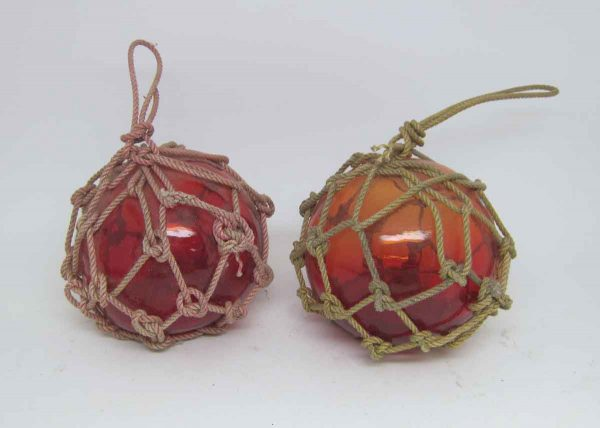 Pair Red Glass Buoys