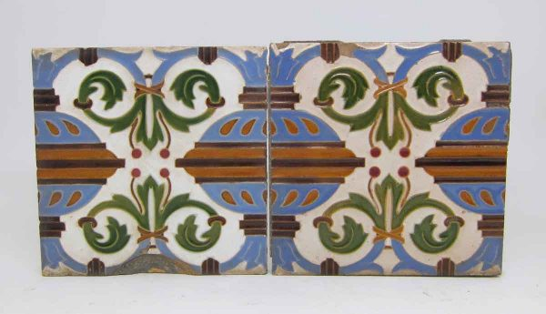 Pair of Encaustic Decorative Tiles