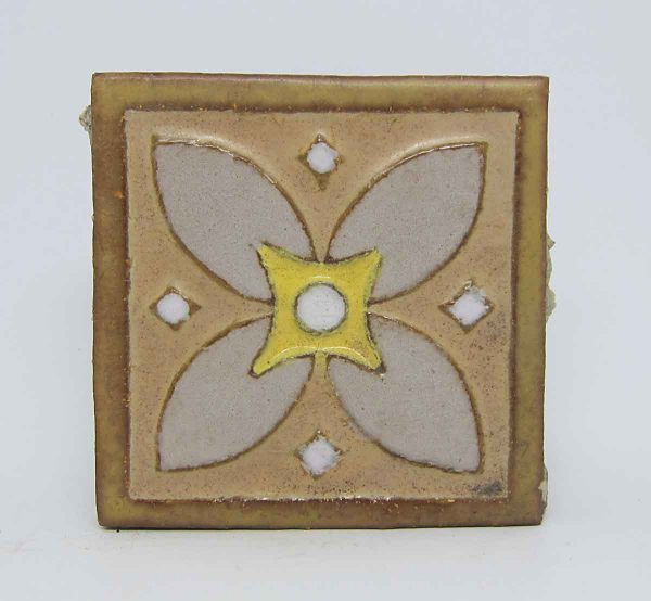 Single 4 Fold Floral Encaustic Tile