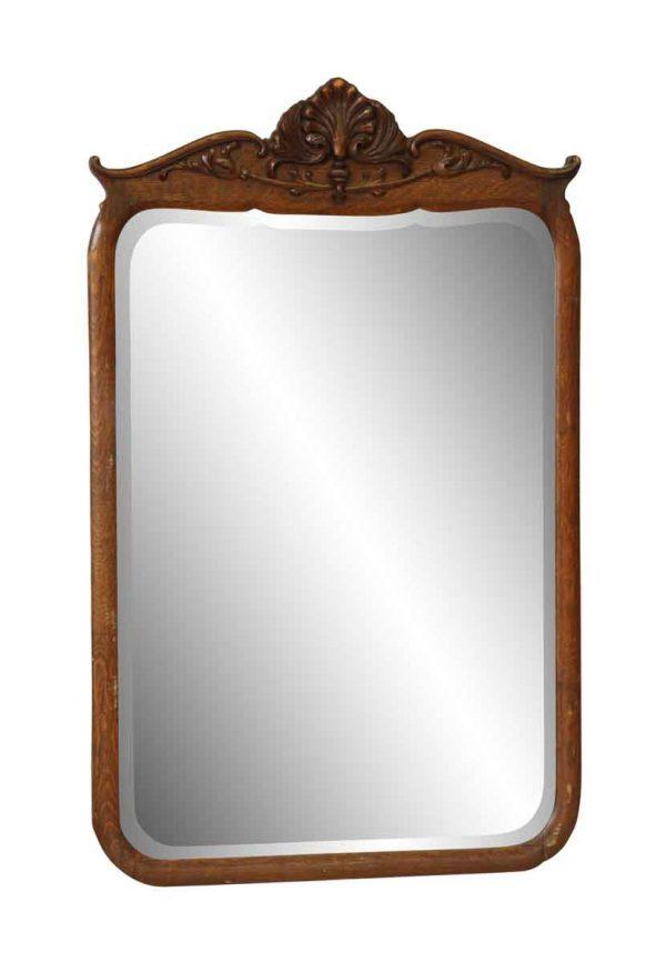 Antique Beveled Mirror in Tiger Oak Frame