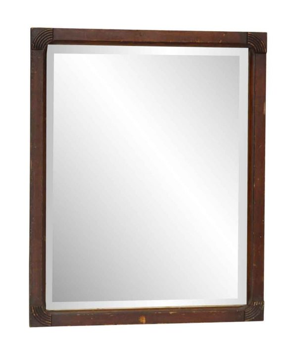 Art Deco Wood Framed Beveled Mirror
