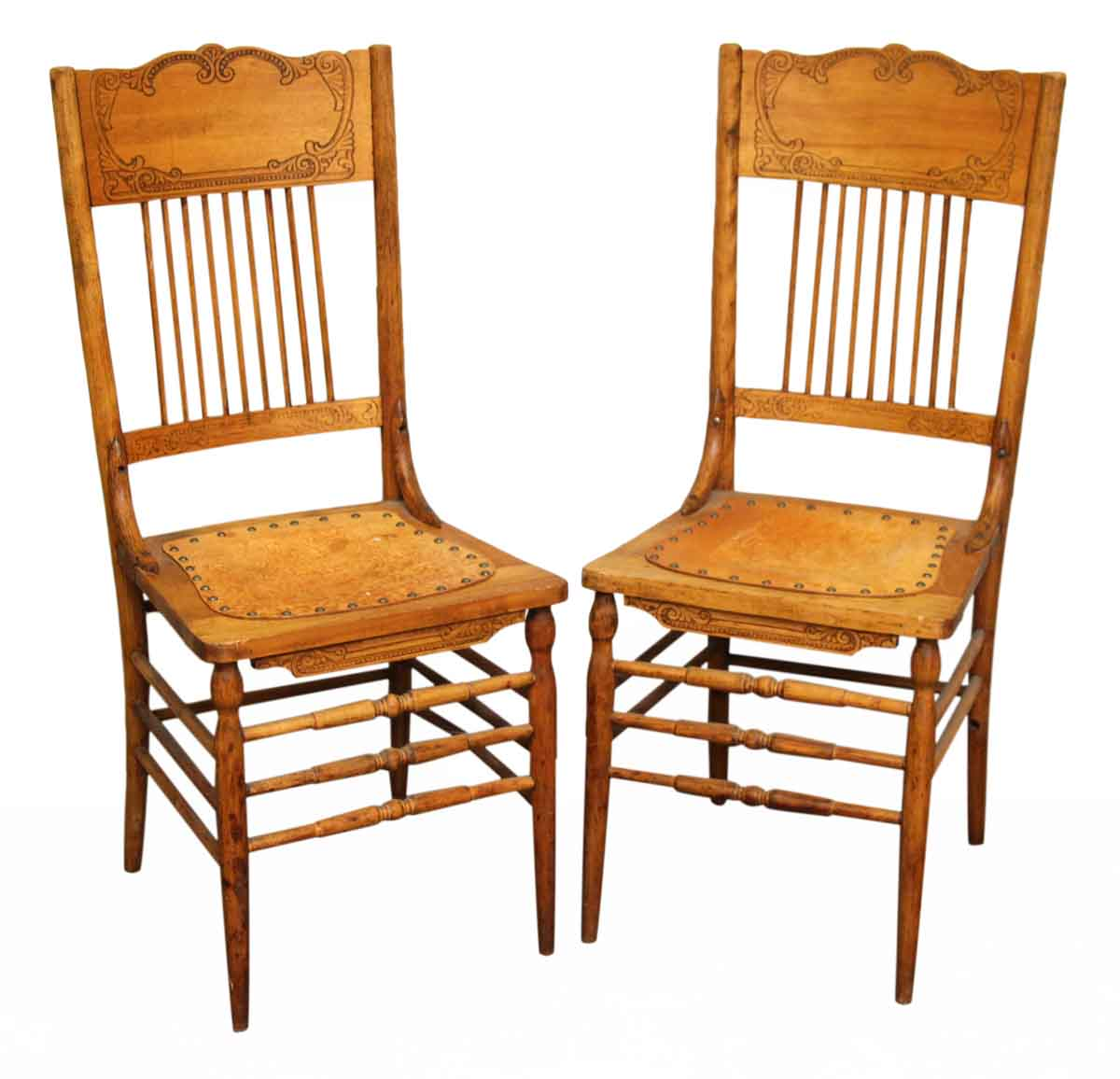 Antique Wooden Kitchen Chairs: Pair Of Leather & Wood Chairs