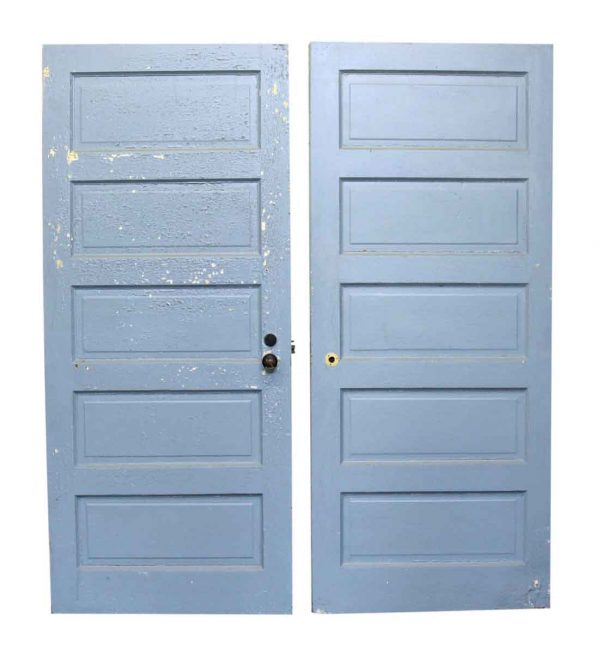 Pair of Blue Wood Five Panel Doors