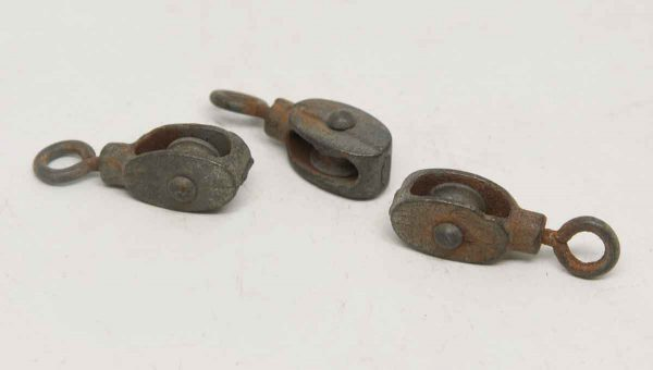 Set of Three Mini Iron Pulleys