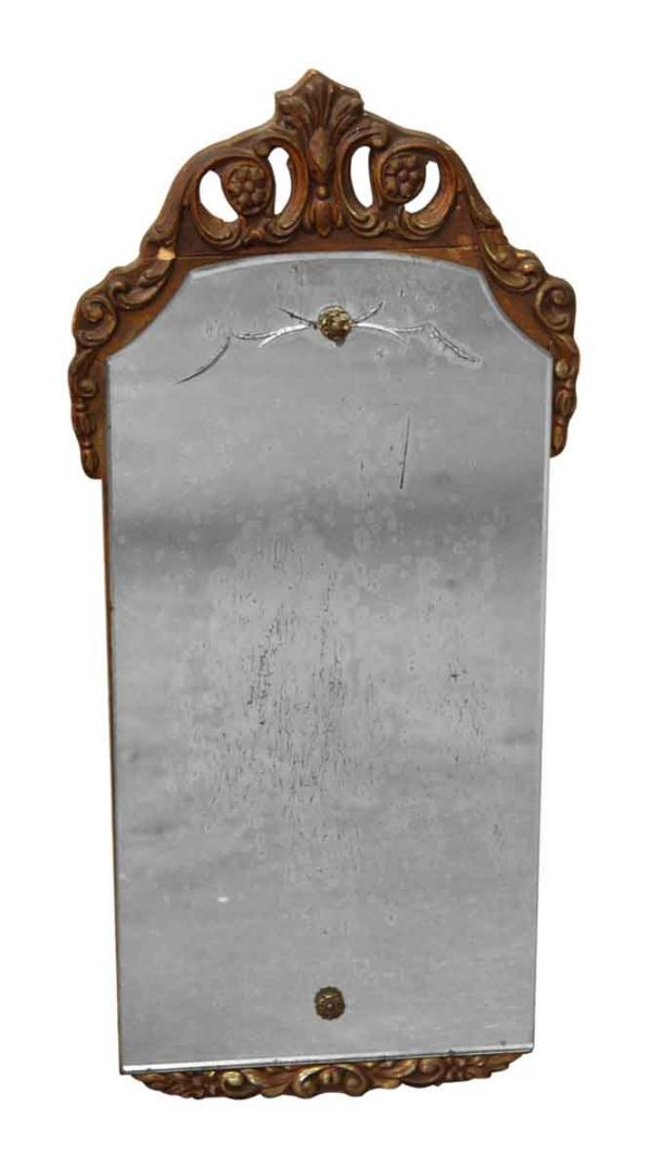 Ornate Top Distressed Mirror