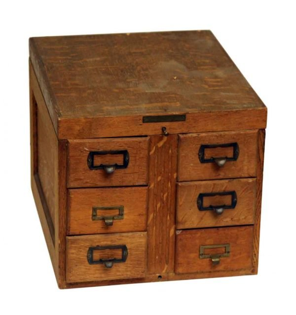 Small Wooden Six Drawer Card Catalog