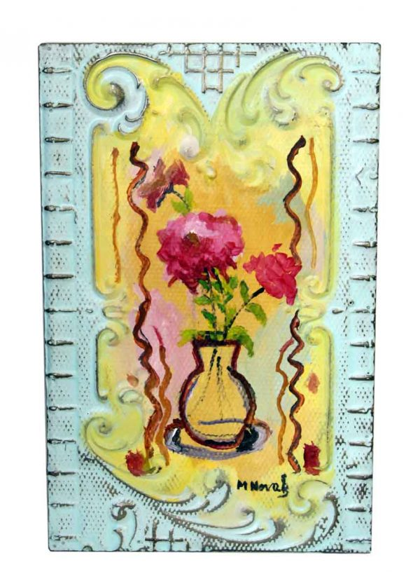 Pretty Floral Still Life Tin Panel by Novak