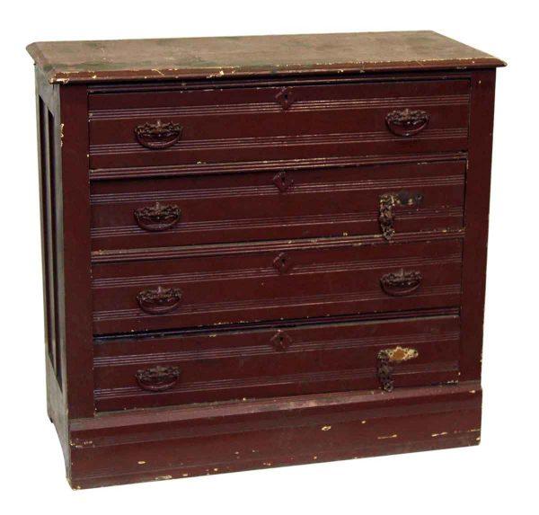 Burgundy Painted Wood 4 Drawer Dresser
