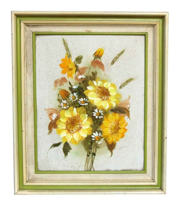 Framed Yellow Floral Oil Painting